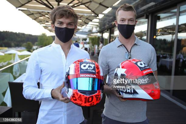 Making a very brief appearance fully sanitized maskedup and extremely socially distanced were Scuderia AlphaTauri drivers Pierre Gasly and Daniil...