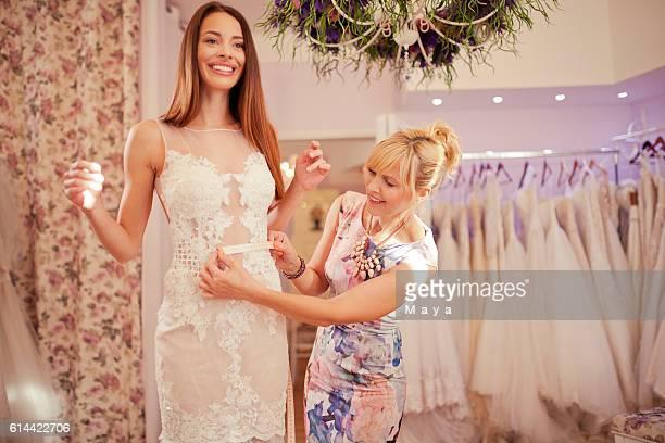 Making adjustments to wedding dress