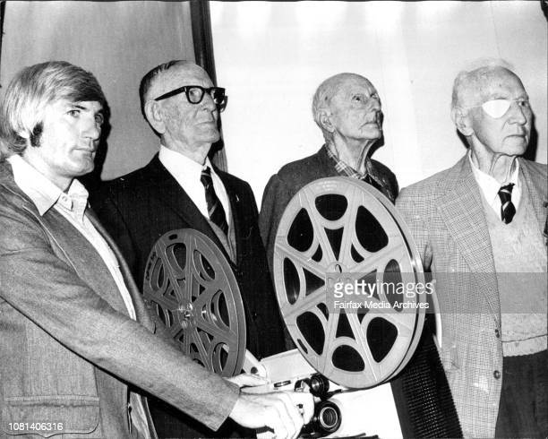 Making And Recording History On The Spot LR Mr Shields starts projection of movie closely watched by Mc AW Whitney President of BW Veterans Mr Harry...