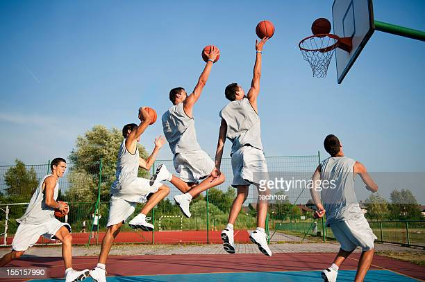 making basket in multiple image - taking a shot sport stock pictures, royalty-free photos & images