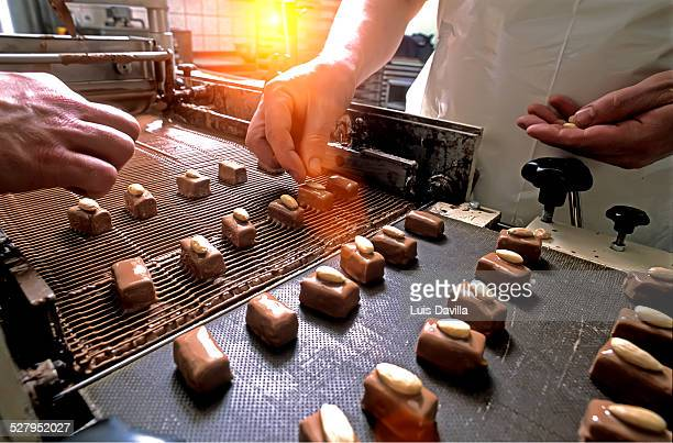 making belgium chocolates - chocolate factory stock photos and pictures