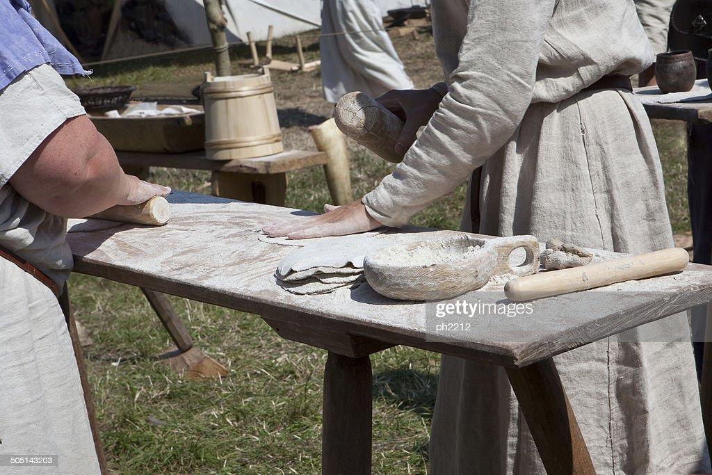Making Bread - Viking Market, Denmark : Stock Photo