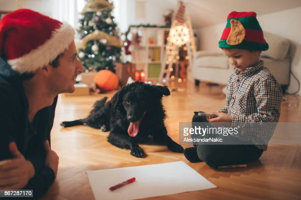 Making Christmas cards together