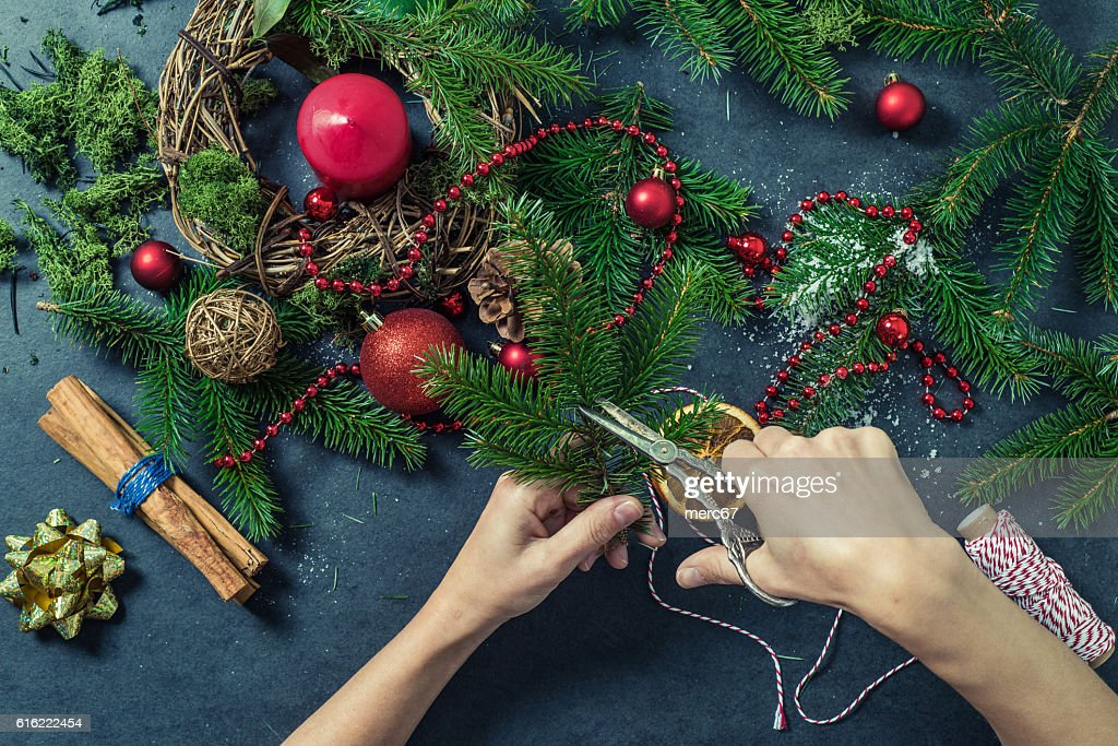 Making Christmas festive decorations : Stock Photo