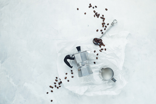 Making coffee concept flat lay on a white concrete background. Minimalistic image with copy... - gettyimageskorea