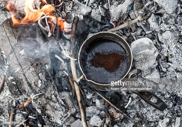 Making coffee on burning coal