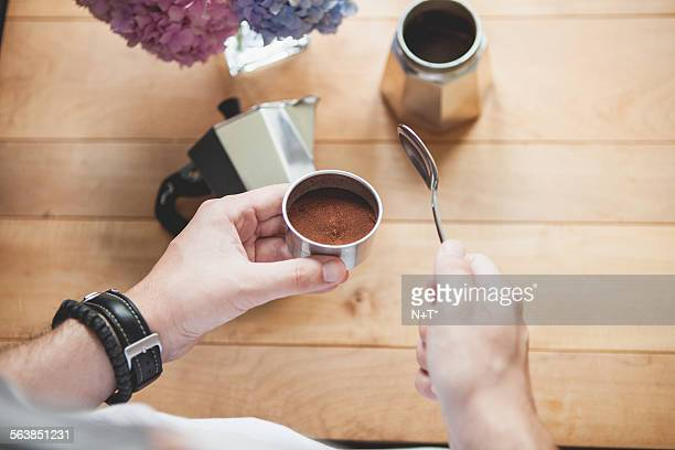 making coffee - mocha stock photos and pictures