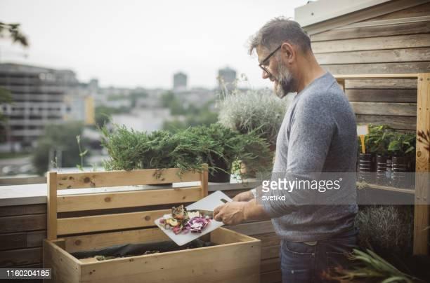 faire du compost à partir des restes - humus photos et images de collection