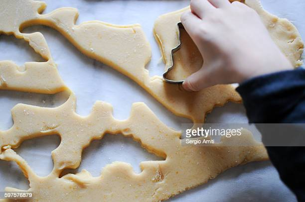Making dinosaur-shaped cookies using a cutter
