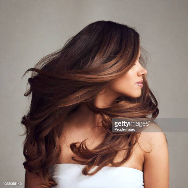 making hairstory everyday with gorgeous hair - brown hair stock pictures, royalty-free photos & images