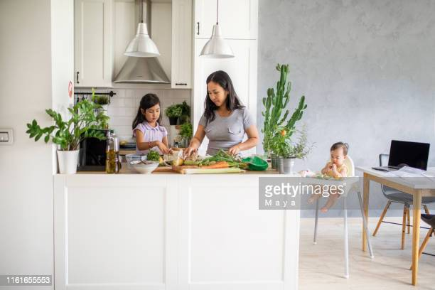 making healthy vegetables meal for my kids - wide stock pictures, royalty-free photos & images