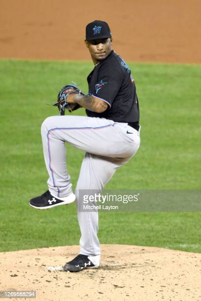 Making his major league debut, Sixto Sanchez of the Miami Marlins, pitches during game two of a doubleheader baseball game against the Washington...