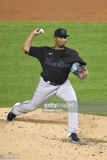 Making his major league debut, Sixto Sánchez of the Miami Marlins, pitches in the second inning during game two of a doubleheader baseball game...