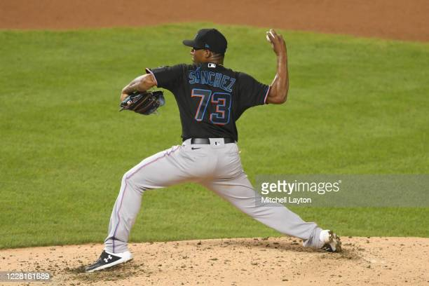Making his major league debut, Sixto Sánchez of the Miami Marlins, pitches in the forth inning during game two of a doubleheader baseball game...