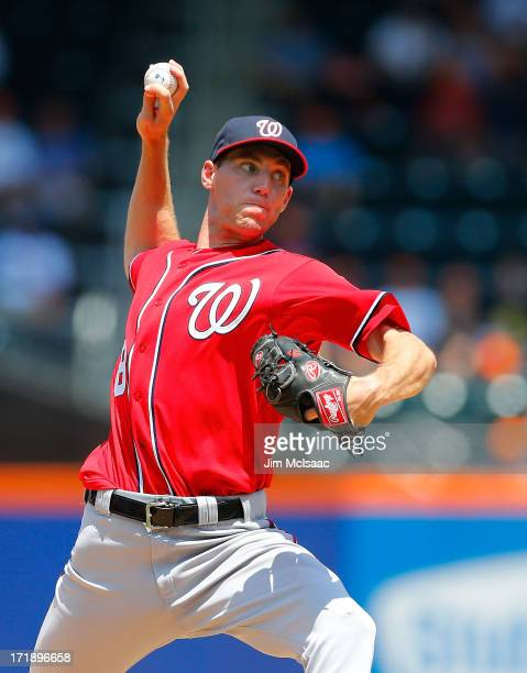 Making his major league debut Taylor Jordan of the Washington Nationals delivers a pitch against the New York Mets at Citi Field on June 29 2013 in...