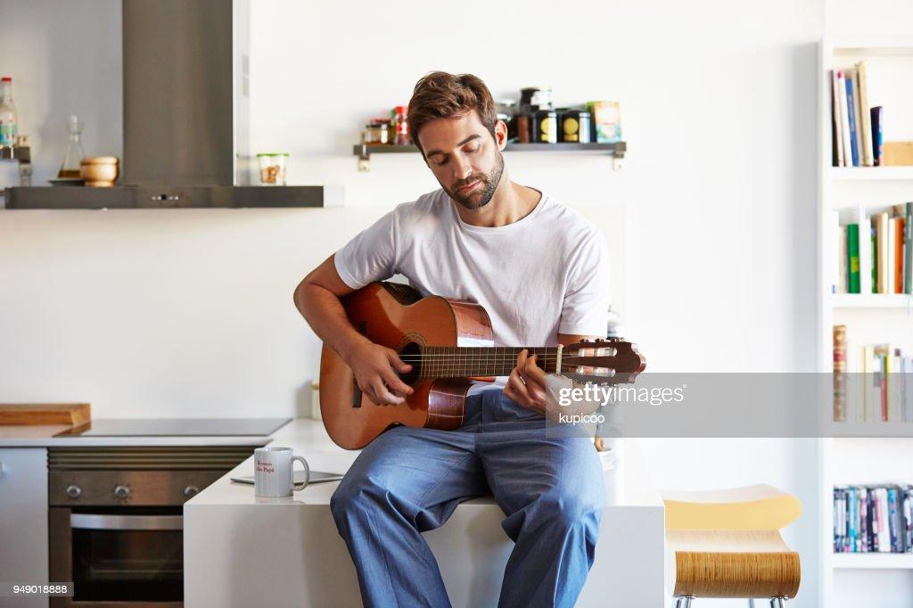Making his mornings musical : Foto stock