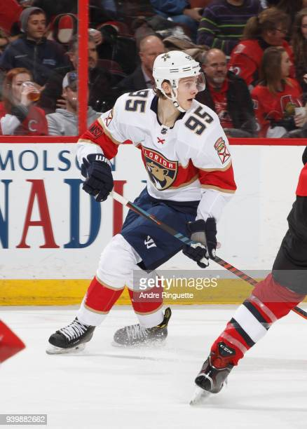 Making his NHL debut Henrik Borgstrom of the Florida Panthers skates against the Ottawa Senators at Canadian Tire Centre on March 29 2018 in Ottawa...
