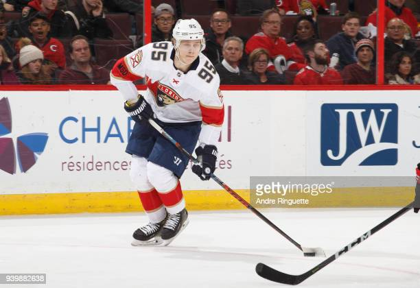 Making his NHL debut Henrik Borgstrom of the Florida Panthers stickhandles the puck against the Ottawa Senators at Canadian Tire Centre on March 29...