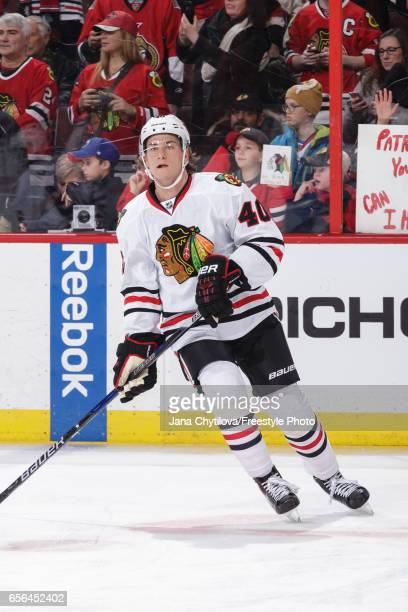 Making his NHL debut John Hayden of the Chicago Blackhawks skates during warmups prior to a game against the Ottawa Senators at Canadian Tire Centre...