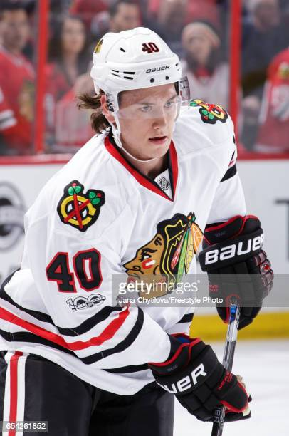 Making his NHL debut John Hayden the Chicago Blackhawks skates during the warmup prior to a game against the Ottawa Senators at Canadian Tire Centre...