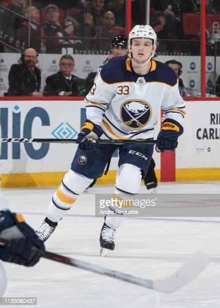 Making his NHL debut William Borgen of the Buffalo Sabres skates against the Ottawa Senators at Canadian Tire Centre on March 26 2019 in Ottawa...
