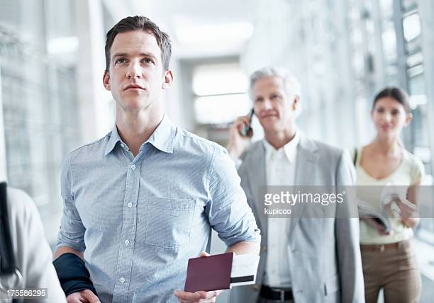 Making his way to the boarding gate