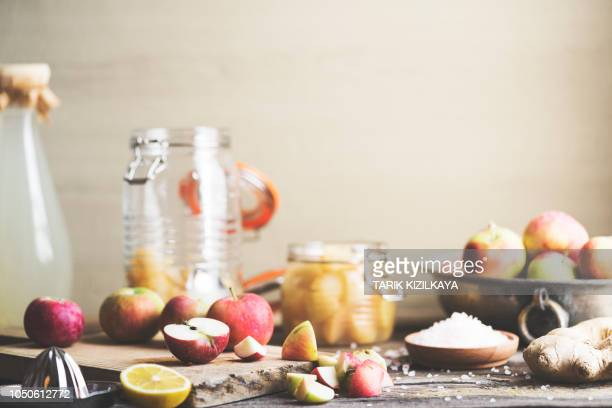 making homemade apple cider vinegar - immune system stock pictures, royalty-free photos & images