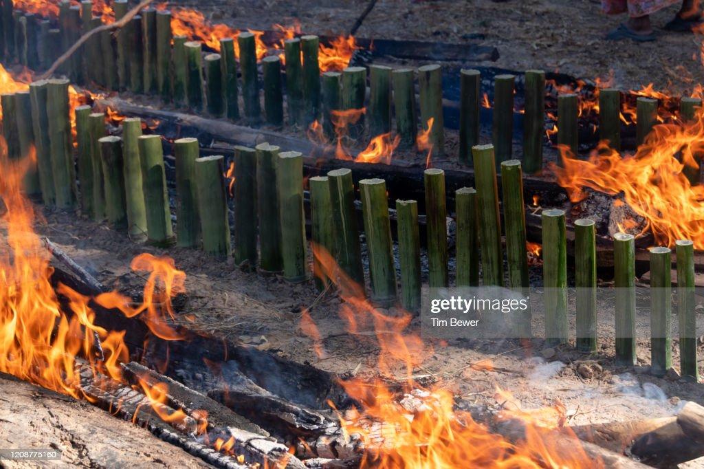 Making khao lam sticky rice snack. : Stock Photo