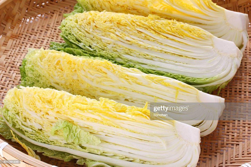 making kimchi process, prepare napa cabbage, korean food : Stock Photo