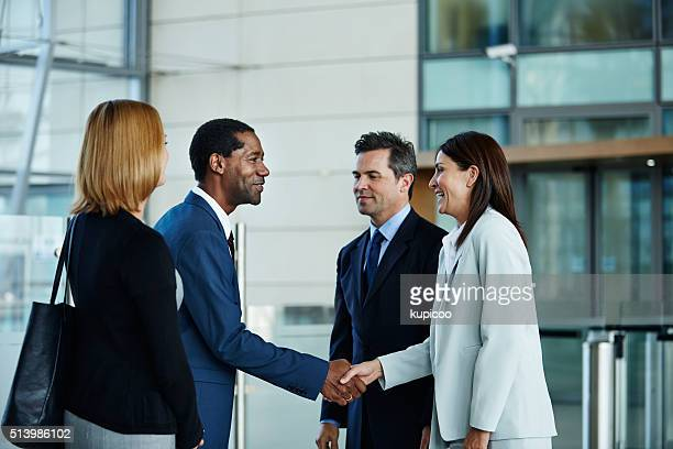 making new business alliances - ladder of success stock pictures, royalty-free photos & images