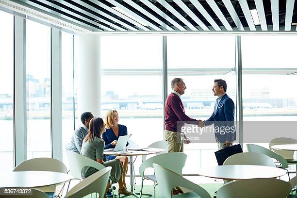 Making new business deals in departures