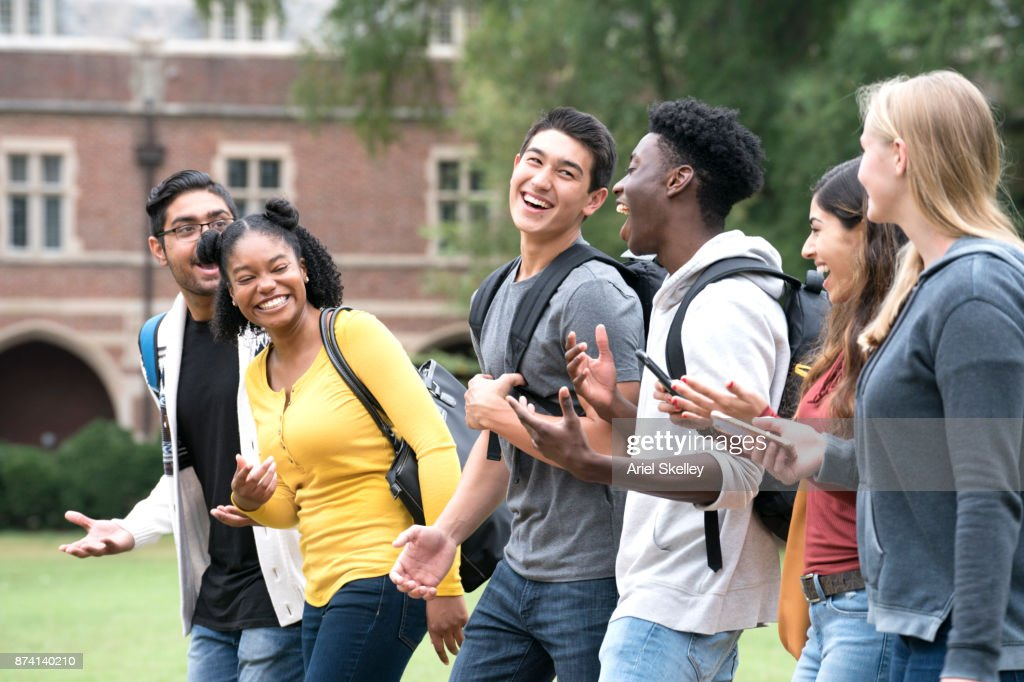 Making New Friends at College : Stock Photo