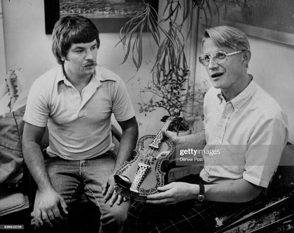 Making Norwegian Fiddle, The Harding Fele, is only First Step Next, Roger Ronnie, left, and Rolf Tveitan plan to learn to play the instrument. Credit: Denver Post
