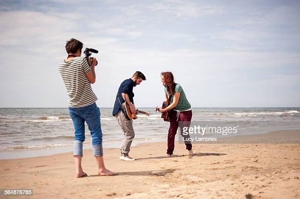 Making of a videoclip on the beach