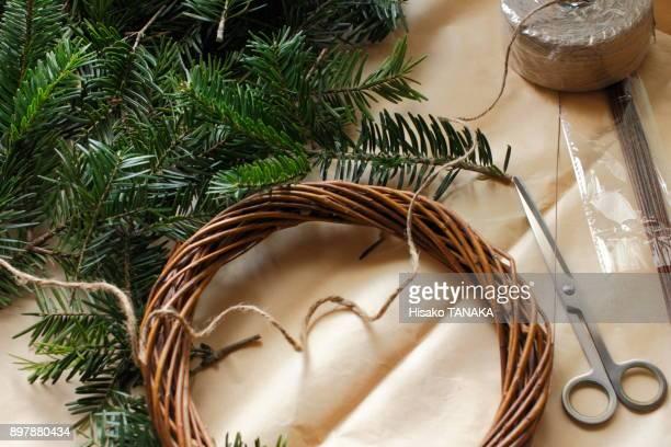 making of Christmas wreath