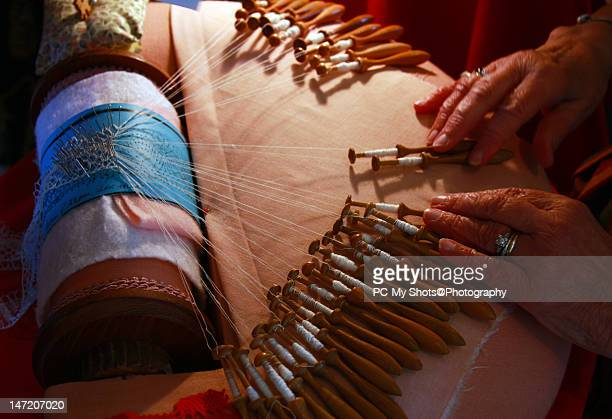 making of lace in old danish tradition - lacemaking stock pictures, royalty-free photos & images
