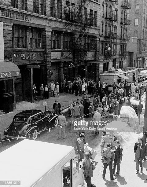 Making of movie The Godfather on Mott Street in Manhattan Actor Marlon Brando plays Don Corleone in the movie and is gunned down outside Genco Olive...