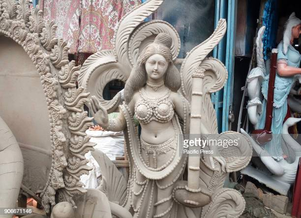 Making of Saraswati idols of Hindu Goddess Saraswati for upcoming Saraswati Puja