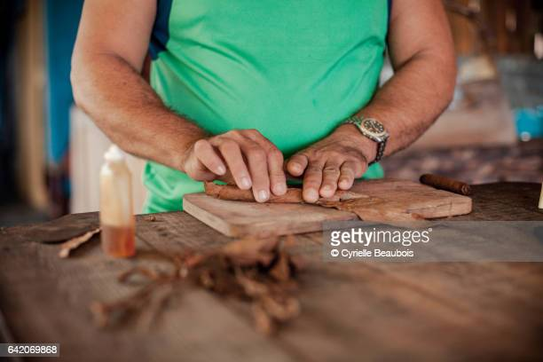Making of traditional cigars in Viñales