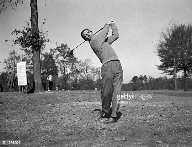 Making one of the most spectacular comebacks in modern sports history Ben Hogan is shown swinging his golf club during a threeway playoff for the US...