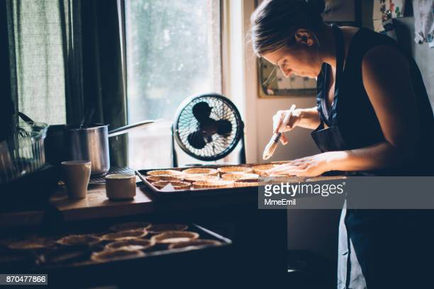 making pies - basting brush stock photos and pictures