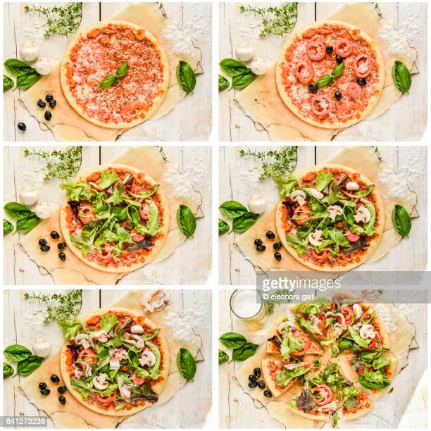 making pizza - pepperoni pizza stock photos and pictures