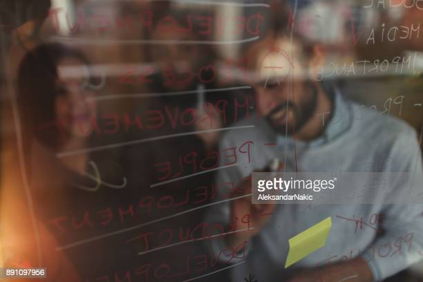 Making plans on a transparent wipe board