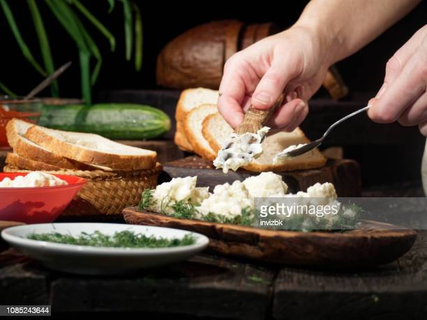 making salmon roe sandwiches - cream cheese stock pictures, royalty-free photos & images