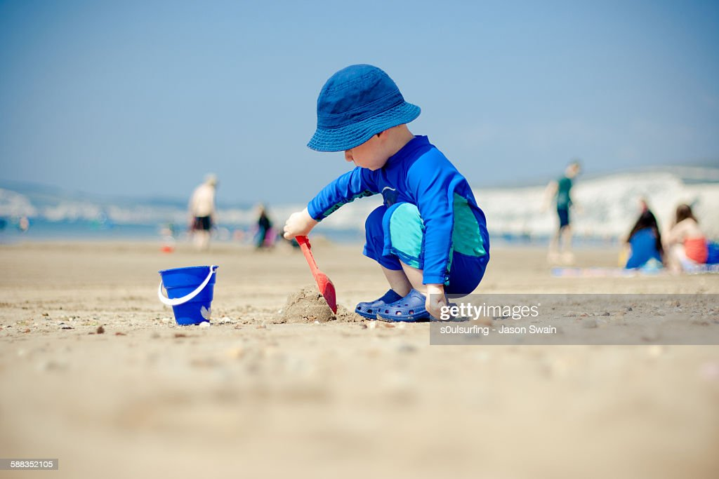 Making sandcastles : Stock Photo