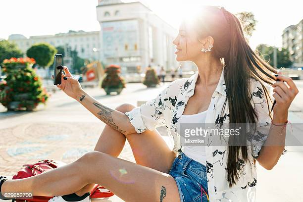 making selfie - vanity stock pictures, royalty-free photos & images