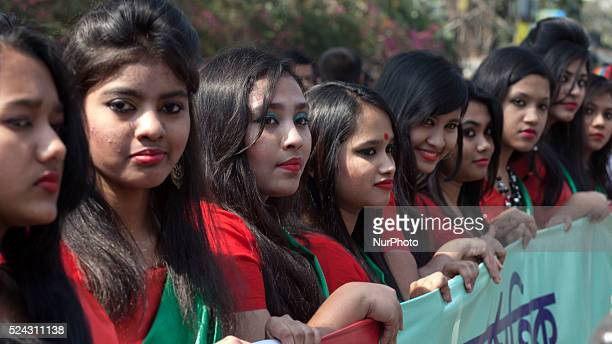 Making slogan quotEmpowering Women Empowering Humanityquot women from different community gathered in front of pressclub Dhaka to celebrate upcoming...