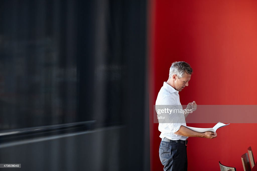 Making sure he brings his A-game to the meeting : Stock Photo