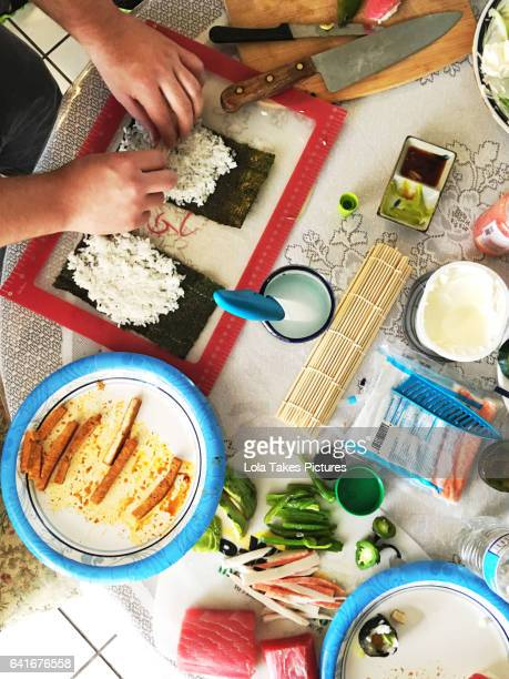 making sushi - chilli crab stock photos and pictures