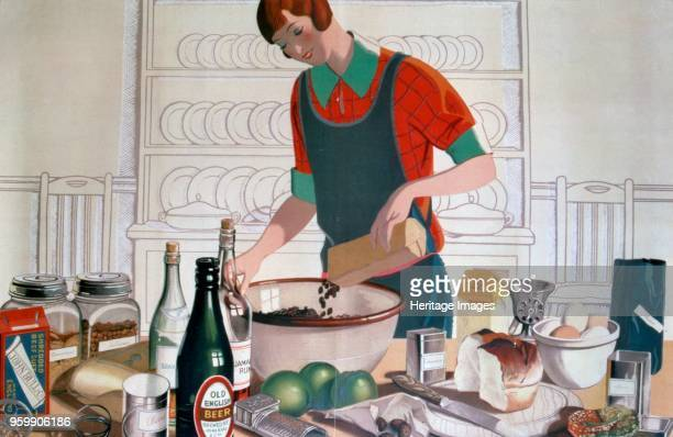 Making the Empire Christmas Pudding, c. 1920'S colour lithograph. Empire Marketing Board poster. The Empire Marketing Board was established in 1926...